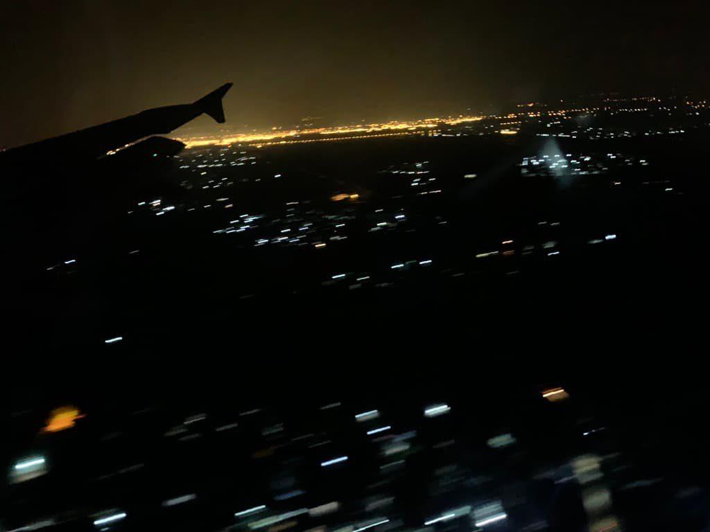 ルアンパバーン 飛行機からの夜景