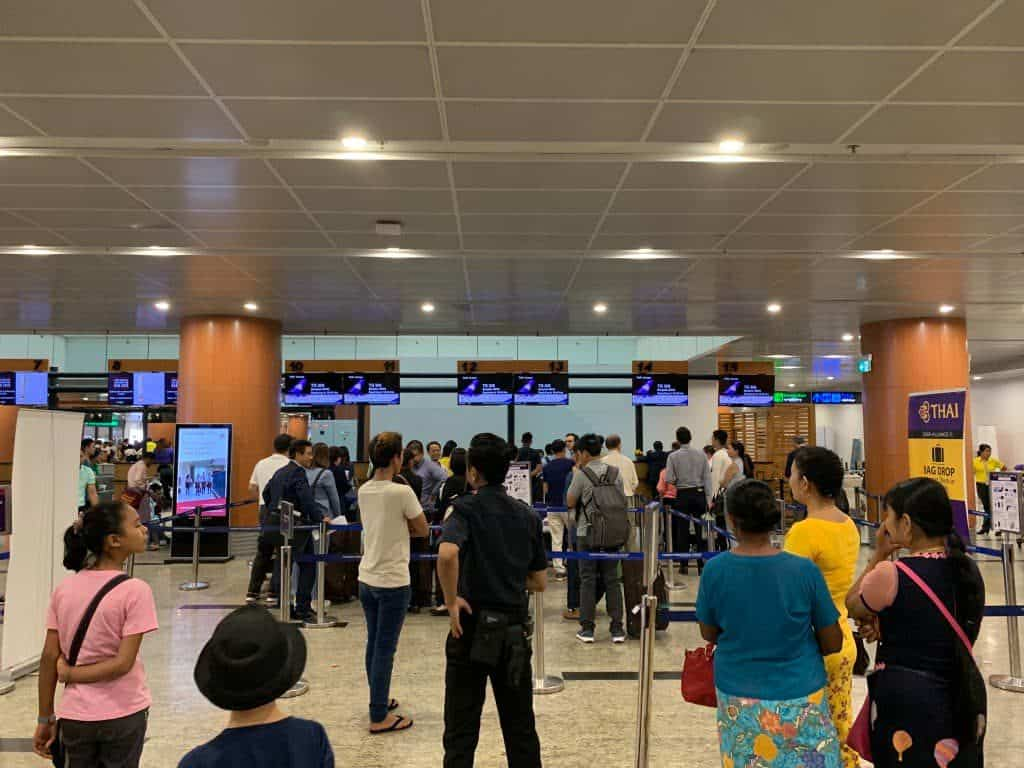 ヤンゴン国際空港 タイ国際航空チェックインカウンター