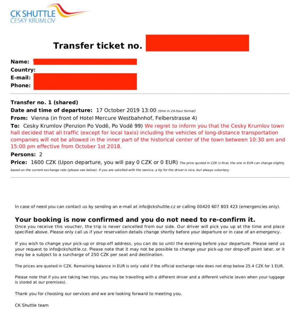 CK Shuttleチケット