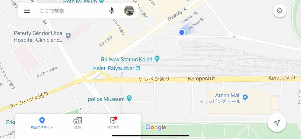 ブダペスト東駅IC代行バスのバス乗り場