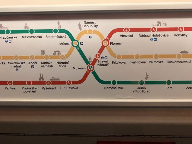 プラハ地下鉄路線図